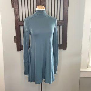 FREE PEOPLE TISSUE BLUE TURTLENECK TUNIC DRESS XS